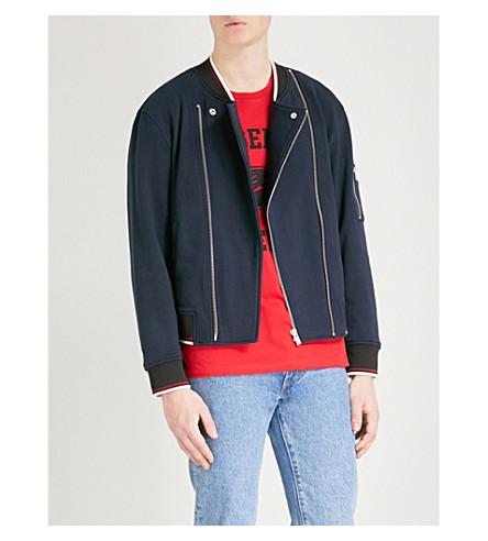 THE KOOPLES Striped-trim cotton bomber jacket (Nav01