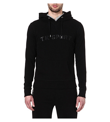 THE KOOPLES SPORT Leather appliqué hoody (Black/black