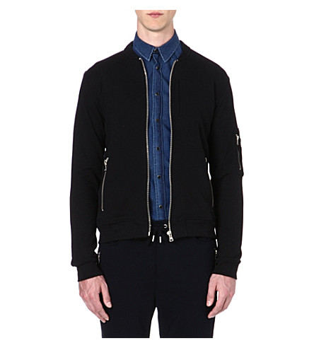 THE KOOPLES SPORT Cotton zip detail bomber jacket (Black