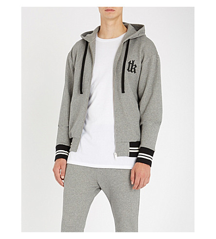 THE KOOPLES Slogan-embroidered cotton-blend hoody (Gry30