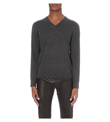THE KOOPLES Leather-trim wool jumper (Grey