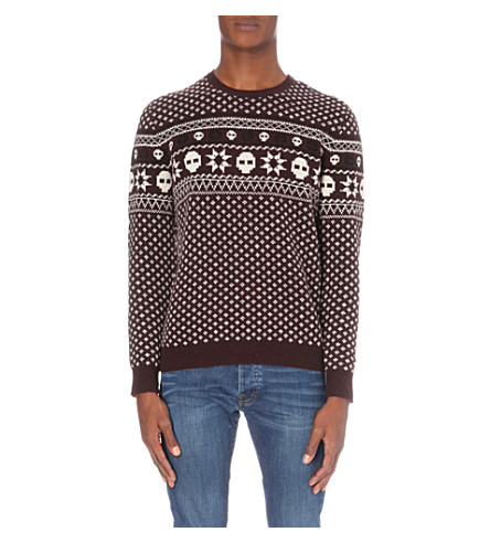 THE KOOPLES Fair Isle-patterned wool sweater (Black-red-white