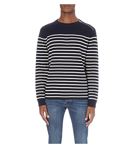 THE KOOPLES Striped knitted jumper (Brgndy+off+whte+blck