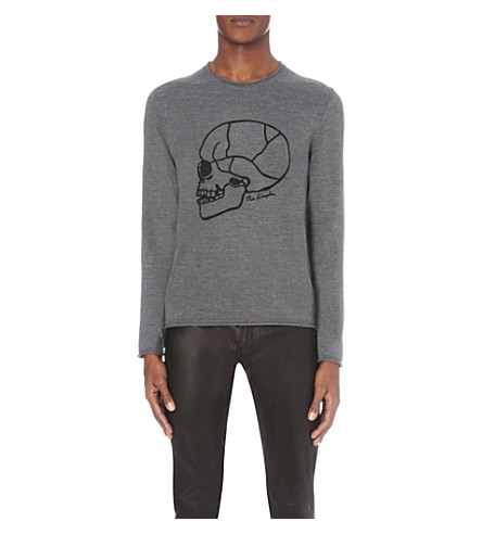 THE KOOPLES Skull-embroidered wool jumper (Grey