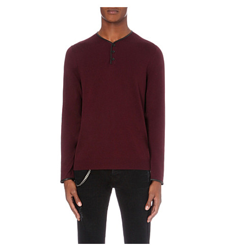 THE KOOPLES Leather-trim wool jumper (Bur