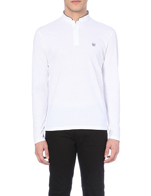 THE KOOPLES SPORT Long-sleeved cotton-piqué polo shirt