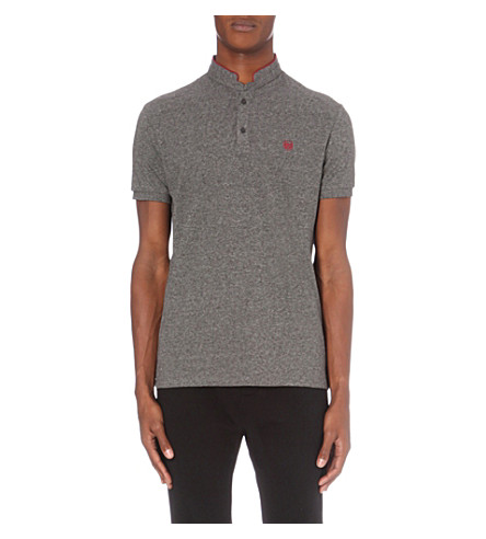 THE KOOPLES Slim-fit cotton-piqué polo shirt (Black+-+burgundy
