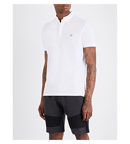 THE KOOPLES SPORT Officer-collar slim-fit cotton-piqué polo-shirt (Whi59