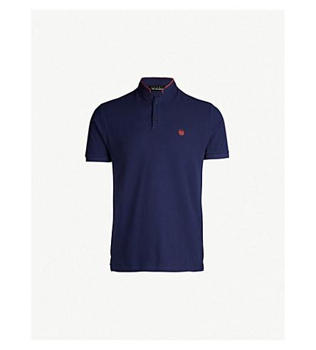 THE KOOPLES Officer-collar cotton-piqué polo shirt (Bluw7