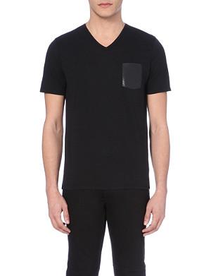 THE KOOPLES Crocodile-printed leather pocket cotton t-shirt