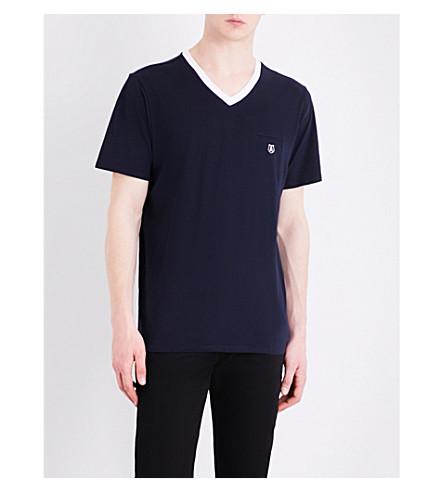 THE KOOPLES SPORT Skull-embroidered cotton-jersey T-shirt (Nav03