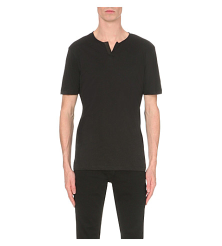 THE KOOPLES Leather-trim cotton-jersey T-shirt (Black