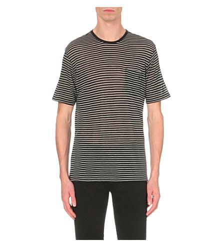THE KOOPLES Striped wool-jersey T-shirt (Black