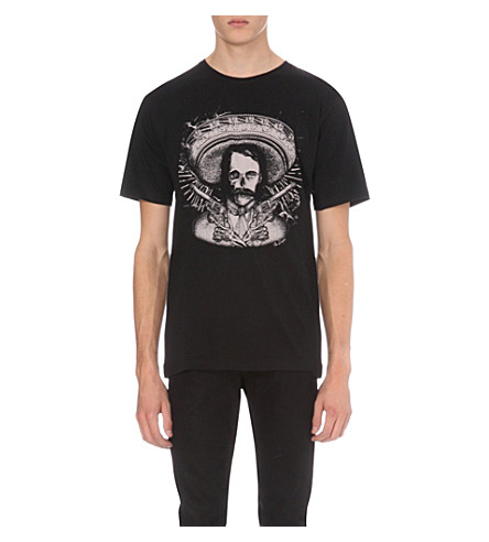 THE KOOPLES Printed cotton-jersey T-shirt (Black