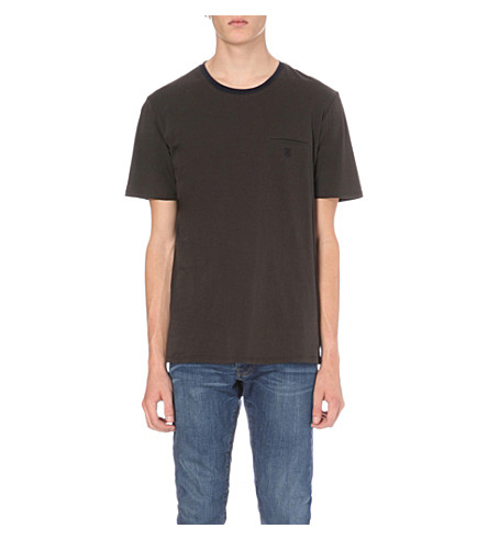 THE KOOPLES Embroidered jet pocket cotton-jersey T-shirt (Grey