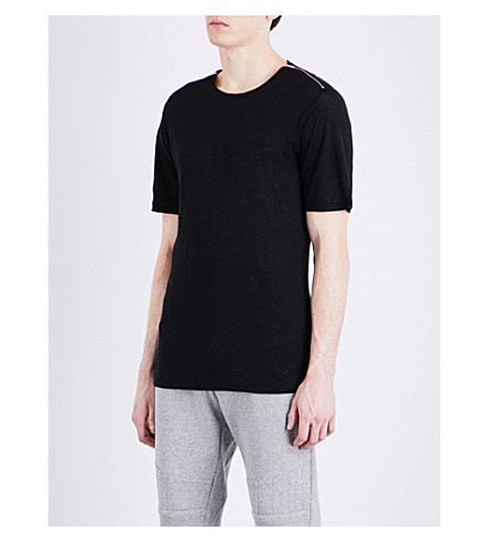 THE KOOPLES SPORT Zip-detail linen T-shirt (Bla01
