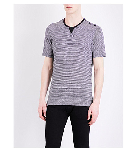 THE KOOPLES SPORT Button-detail striped cotton and linen-blend T-shirt (Bla06