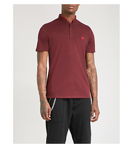 THE KOOPLES Officer-collar slim-fit cotton-piqué polo shirt (Bur28