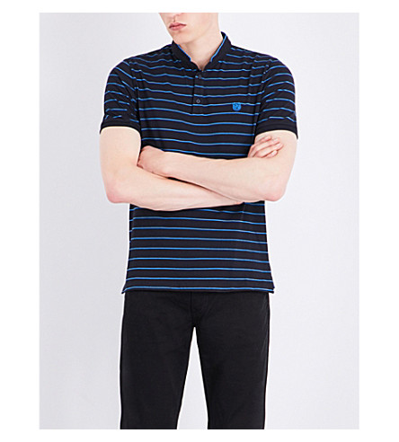 THE KOOPLES SPORT Stripe-print cotton polo shirt (Nav72