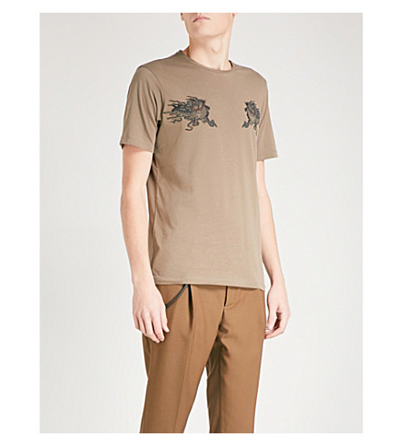 THE KOOPLES Dragon-embroidered cotton-jersey T-shirt (Brw09