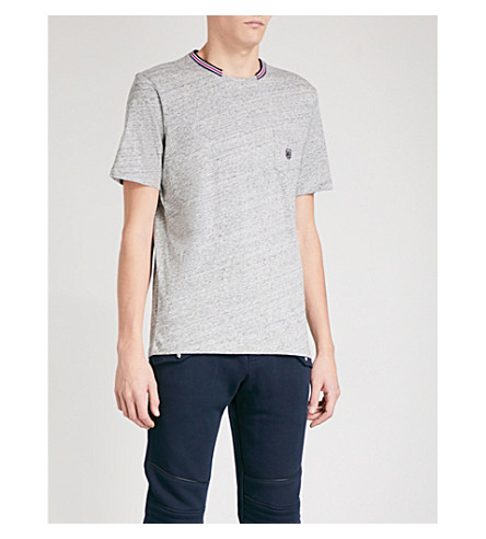 THE KOOPLES Striped-trim cotton T-shirt (Gry30