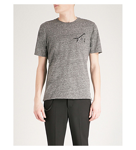 THE KOOPLES Guitar embroidered and pin-detail cotton-blend T-shirt (Gryd1