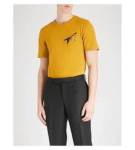 THE KOOPLES Embroidered patch and pin T-shirt (Yel02