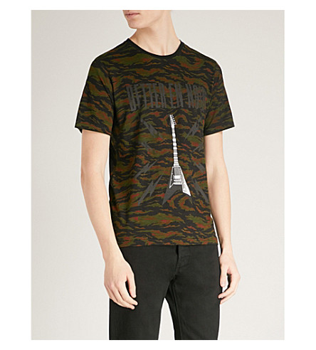 THE KOOPLES Camouflage guitar print cotton T-shirt (Kak01