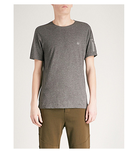 THE KOOPLES Zipped-pocket cotton-blend T-shirt (Gry23