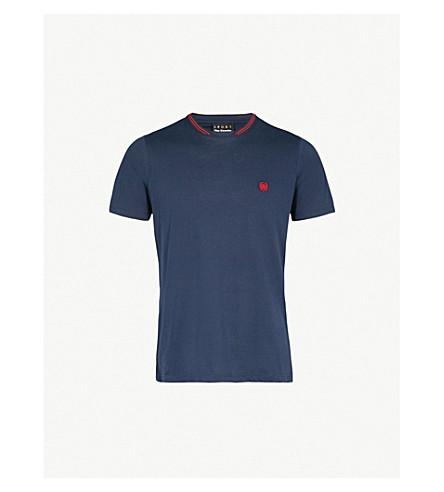 THE KOOPLES Striped-trim cotton-jersey T-shirt (Bluc4