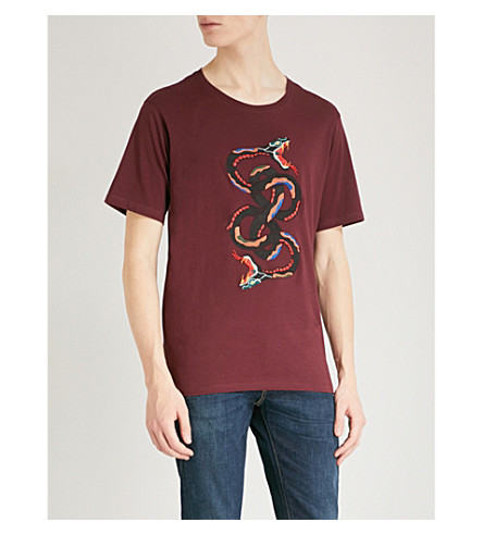 THE KOOPLES Snake-embroidered cotton-jersey T-shirt (Bur01