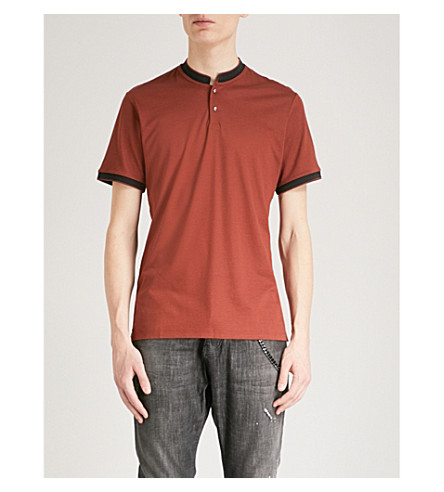 THE KOOPLES Contrast trim cotton-blend polo shirt (Ora17