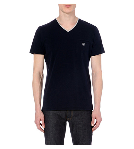 THE KOOPLES SPORT Contrast v-neck t-shirt (Dark+navy