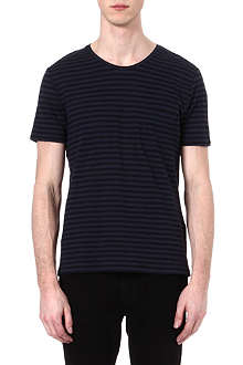 THE KOOPLES Linen-blend striped t-shirt