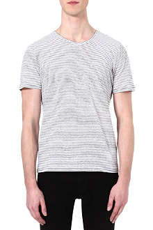 THE KOOPLES Narrow-striped linen-blend t-shirt