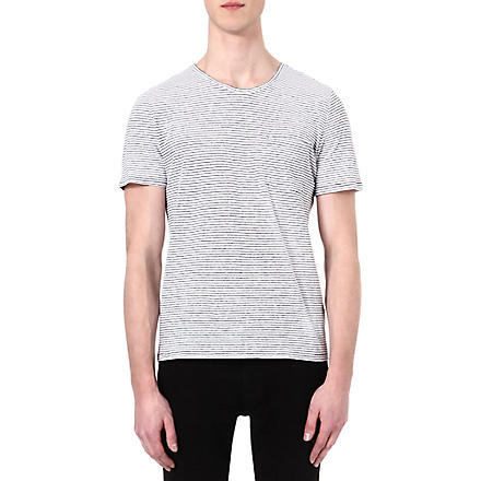 THE KOOPLES Narrow-striped linen-blend t-shirt (Black / white