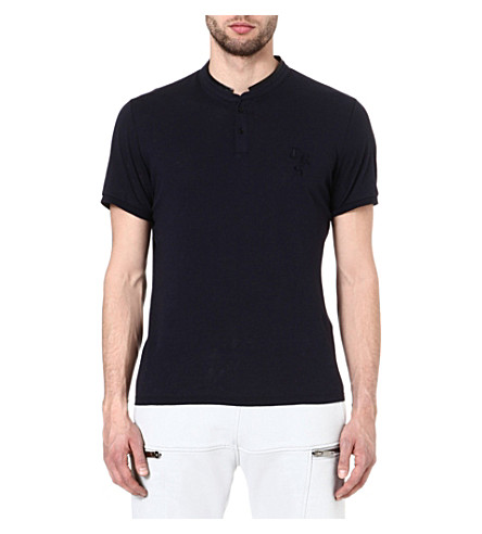 THE KOOPLES SPORT Stand collar t-shirt (Dark navy / black