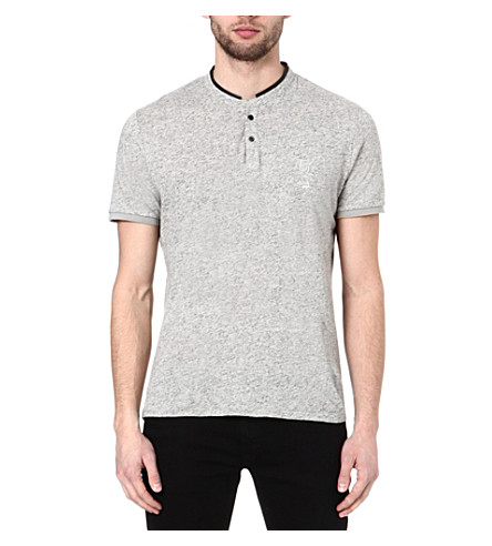 THE KOOPLES SPORT Stand collar t-shirt (Light grey mel / bla