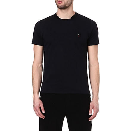THE KOOPLES SPORT T-shirt with ribbed neckline (Dark+navy+/+black