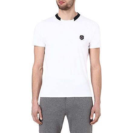 THE KOOPLES SPORT T-shirt with ribbed neckline (White-dark navy