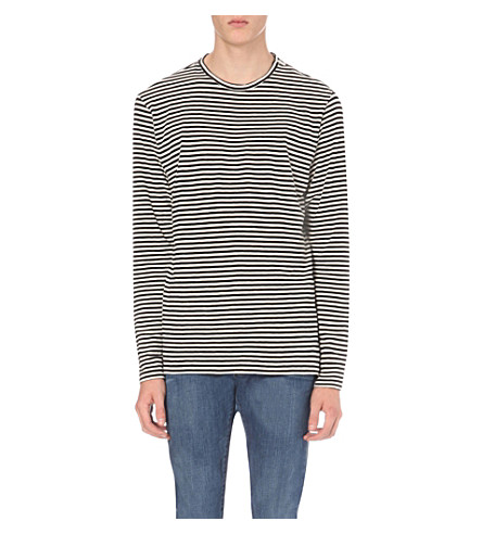THE KOOPLES Striped cotton-jersey top (Black