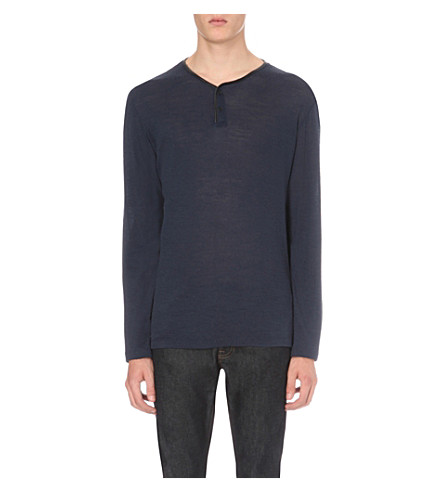 THE KOOPLES Leather trim neckline wool top (Blue