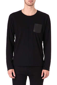 THE KOOPLES Crew-neck t-shirt with leather pocket