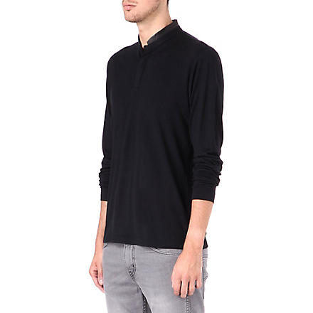 THE KOOPLES Leather-collar wool Henley shirt (Black