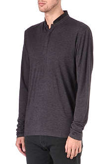 THE KOOPLES Leather-collar wool Henley shirt