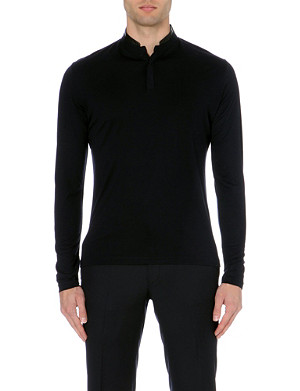 THE KOOPLES Henley leather-detail jersey top