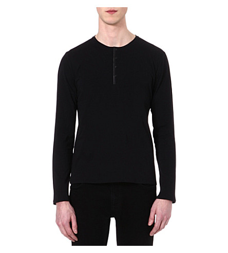 THE KOOPLES Leather-neckline Henley top (Black