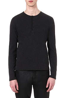THE KOOPLES Leather-neckline Henley top