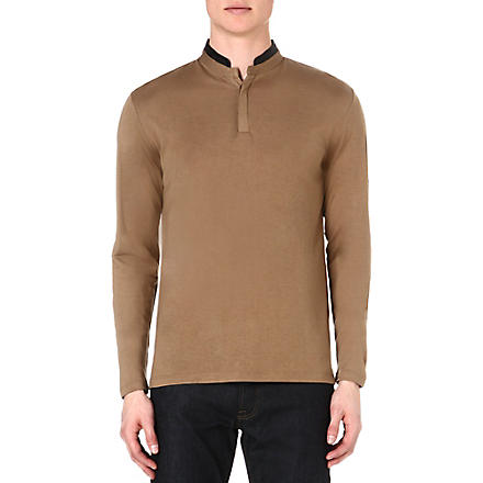 THE KOOPLES Henley leather-trimmed top (Camel