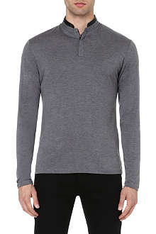 THE KOOPLES Henley leather-trimmed top